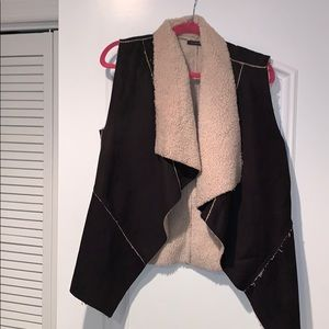 Suede and Fur asymmetrical Vest